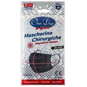 MASCHERINE CHIRURGICHE COLORE NERO 10 PZ